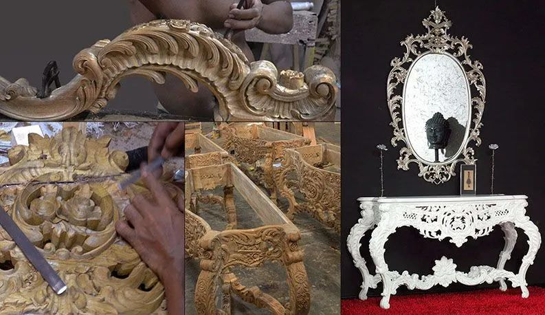 Carving a French baroque console